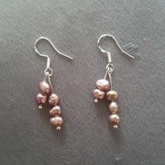 Delicate purple freshwater pearl dangle 925 sterling silver hook earrings