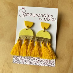Serra Statement Earrings in Yellow with Cotton Tassels and Gold Leaf