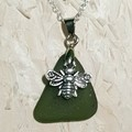 Bee & Seaglass Necklace - Green