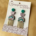 Suna Statement Earrings with Brass Drops in Pastel Ripples