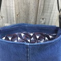 Upcycled Denim Cross Body Bag - Crimson Rosellas
