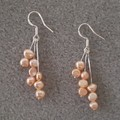 Delicate pink freshwater pearl dangle 925 sterling silver hook earrings