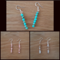 Howlite dangle 925 sterling silver hook earrings, Green, Pink or White & Gold