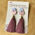Sarila Statement Tassel Earrings in Purple and Pink Marble with Purple Tassel