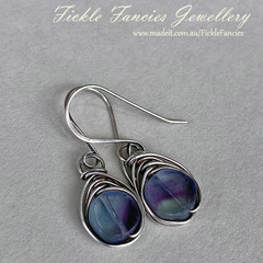 Herringbone Silver and Fluorite Earrings