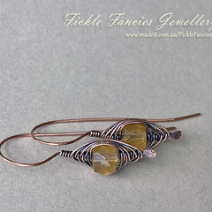 Copper Herringbone and Citrine Earrings