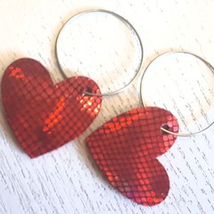 Valentine Heart Hoop Earrings, Genuine Leather Gold/Red