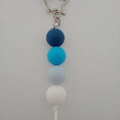 Blue silicone bead keychain