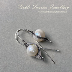 Silver Herringbone and Pearl Earrings