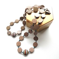 Stripe beaded mint wooden statement necklace