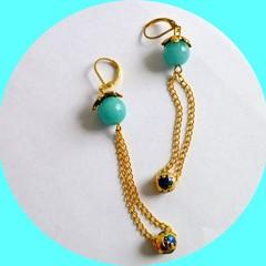 Gem stone jewellery. Aquamarine. Aquamarine elephant earrings. FREE SHIPPING