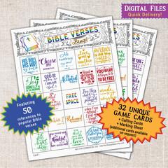 Bible Verses Bingo printable Party Game | fun Church Youth group activity idea