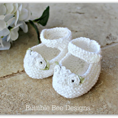 100% White Cotton Hand Knitted Mary Jane Booties with White Silk Ribbon Flowers