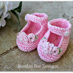 100% Pink Cotton Hand Knitted Mary Jane Booties with Silk ribbon flowers