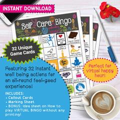 Self-Care Wellness Bingo Game | Well-being Team activity Health challenge idea