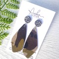 Druzy Stud, Camo Print, Genuine Leather Earrings, Brown/Green