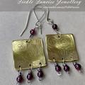 OOAK Etched Copper Brass and Garnet Dangle Earrings