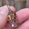 Copper Herringbone and Citrine Earrings