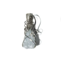 Raw  Aquamarine pendant, Sterling silver wire wrapped
