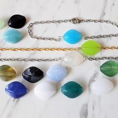 Gemstone style Diamond shaped Acrylic Bead Bracelet , Blue Green Black White