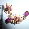 Peach and pale magenta enamel earrings with jade and crystal