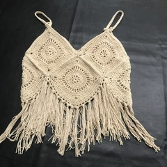 Crochet Boho, Beach & Country look. Ladies Cotton Top, caramel only.