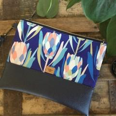 Flat Clutch - Blue Protea/Navy Faux Leather