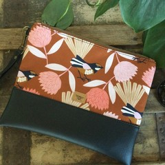 Flat Clutch - Fantails on Mustard/Black Faux Leather