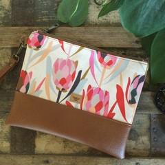 Flat Clutch - Pink Proteas/Tan Faux Leather