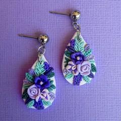 Handmade Teardrop Floral Statement Earrings