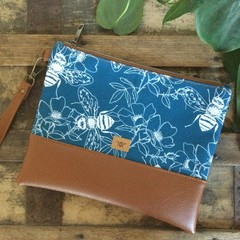Flat Clutch - Bees on Blue/Tan Faux Leather