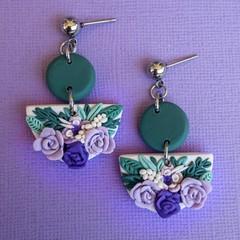 Handmade Floral Statement Earrings