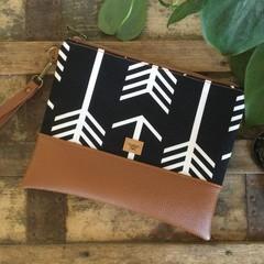 Flat Clutch - Black & White Arrows/Tan Faux Leather