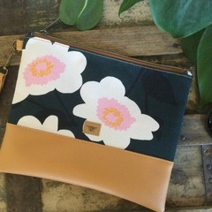 Flat Clutch - Lge Flowers on Green/Tan Faux Leather