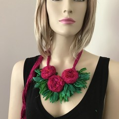 Recycled silk neckpiece, boho, flower necklace, magenta hot pink