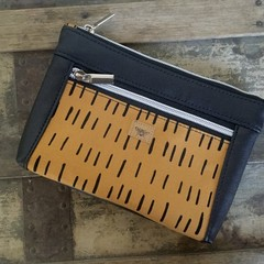 Dbl. Zip Pouch - Mustard/Black Dash/Black Faux Leather