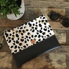 Flat Clutch - Black & White Leopard/Black Faux Leather
