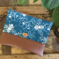 Flat Clutch - Bees on Blue/Brown Faux Leather