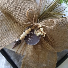 Set of 3 Crystal & Wood Bead Decorations/Embellishments | Rhodonite Jasper