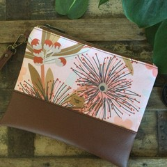 Flat Clutch - Pink Gumblossom/Brown Faux Leather