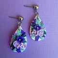 Handmade Teardrop Floral Statement Earrings