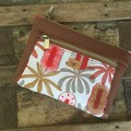 Dbl. Zip Pouch - Red Banksia/Brown Faux Leather
