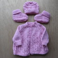 0 to 3 months  Baby Jacket with matching  Bonnet and Bootes