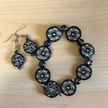 Black and Silver beaded bracelet and earring set