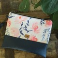 Flat Clutch - Pink/Blue floral/Navy Faux Leather
