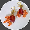 Gold bird, magatama beads. Gold, pink and orange glass earrings. FREE SHIPPING