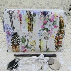 Women's Small Clutch/Cosmetic/Jewelery Pouch - Boho Key & Feather