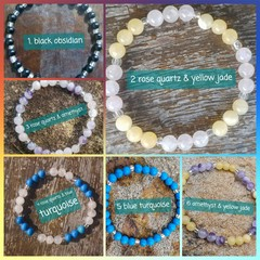 Gemstone and glass beaded stretch bracelets