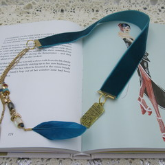 Bookmark Luxury Velvet - Teal with Boho Feather and Beads Perfect Teachers Gift