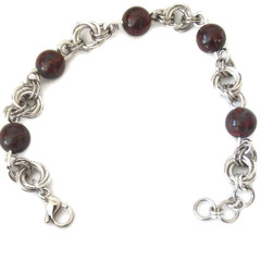 Brecciated Jasper Bracelet Silver Brown Black